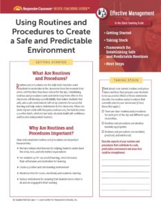 Using Routines and Procedures to Create a Safe and Predictable Environment